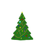 Christmas tree with ornaments vector drawing