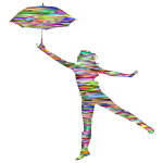 Chromatic Abstract Woman With Umbrella Silhouette