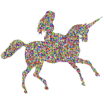 Chromatic Bejeweled Woman Riding Unicorn
