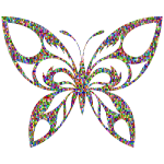 Chromatic Confetti Tribal Butterfly Silhouette
