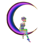 Chromatic Fairy Sitting On Crescent Moon Enhanced No Background