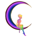 Chromatic Fairy Sitting On Crescent Moon No Background