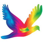 Chromatic Flying Dove Silhouette 3