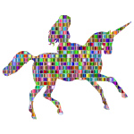 Chromatic Mosaic Woman Riding Unicorn