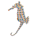 Chromatic Stylized Seahorse Silhouette No Background