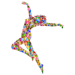 Tiled Carefree Dancing Woman Silhouette