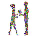 Chromatic Triangular Romantic Young Couple