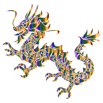 Chromatic Tribal Asian Dragon Silhouette No Background