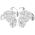 Chrome Floral Flourish Butterfly Silhouette No Background