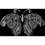 Chrome Floral Flourish Butterfly Silhouette