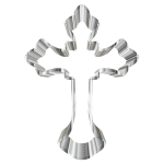 Chrome Ornate Cross No Background