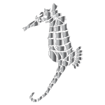 Chrome Stylized Seahorse Silhouette No Background