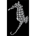 Chrome Stylized Seahorse Silhouette