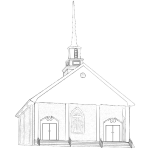 Country church vector drawing