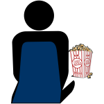 Person with popcorn at the cinema vector symbol