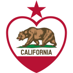 Flag of California Republic in heart shape vector image