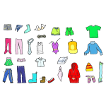 Vector illustration of colored clothing for kids and adults