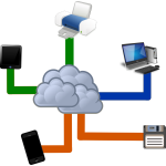 Cloud computing diagram vector illustration
