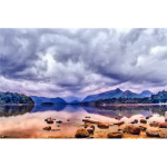 Cloudy Lake Landscape