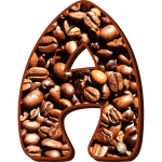 Coffee beans in letter A