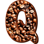 Letter Q with coffee beans
