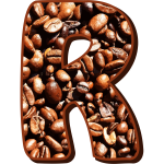Letter R in coffee beans