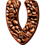 Letter V with coffee beans
