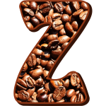 Letter Z with coffee beans
