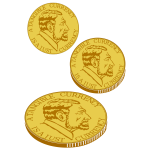 Vector clip art of gold currency coin