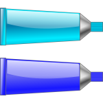 Vector image of blue and cyan colour tubes