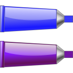 Vector drawing of blue and purple colour tubes