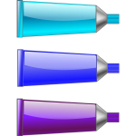 Cyan, blue and purple colour tubes