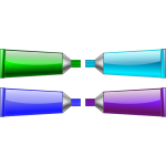 Image of green, blue, purple and cyan colour tubes