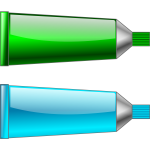 Vector image of green and cyan colour tubes