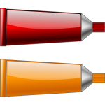 Vector drawing of red and orange colour tubes