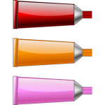 Oil paint tubes in different colors