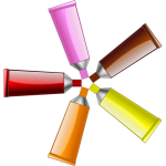 Illustration of red, yellow, brown, orange and pink colour tubes