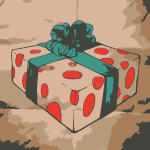 Christmas present box with green ribbon vector image