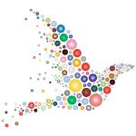 Colored dots forming a bird shape