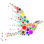 Vector drawing colored circles forming a bird shape