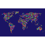 Colorful Circles World Map With Background 4