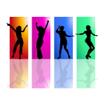 Colorful Dancing Women Silhouette