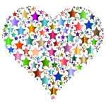 Colorful Heart Stars 9 No Background