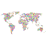 Colorful Stars World Map