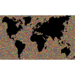 Map of the world made of tiles