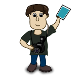 Vector image of boy photographer