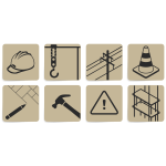 Vector drawing of set of construction site symbols
