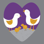 Vector clip art of loving chick family