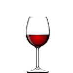 Half glass of red vine vector image