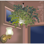 Vector illustration of hanging plant in the corner of a room